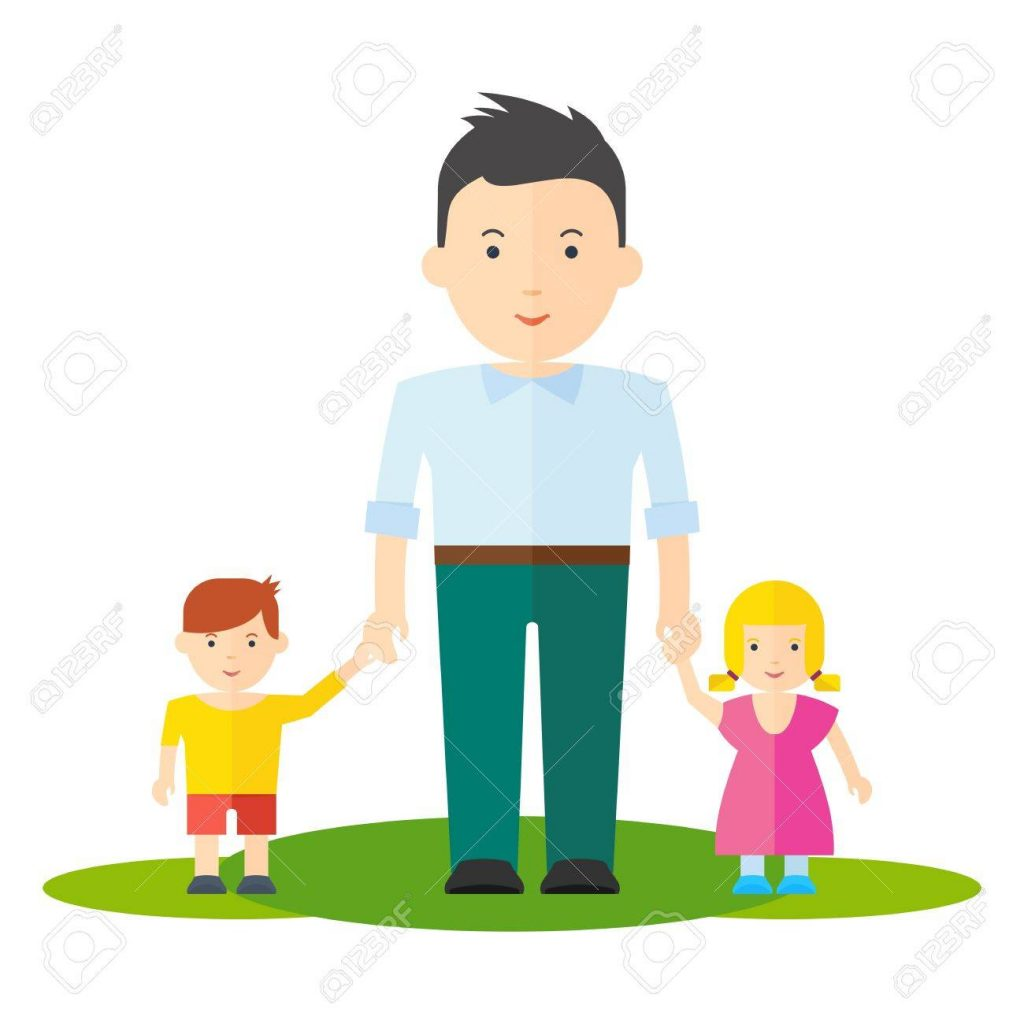 Father and little girl daughter and boy son. Dad and baby flat vector cartoon illustration. Objects isolated on a white background.